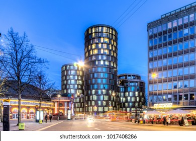 Copenhagen, Denmark - March 11, 2017: Evening view of the modern Axel Towers
