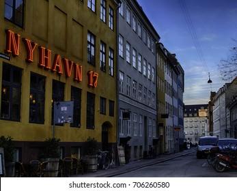 COPENHAGEN, DENMARK - March 11, 2017: Open restaurant of the famous Nyhavn Canal on September 9, 2016 in Copenhagen, Denmark. Nyhavn is one of the most famous landmark of Copenhagen.