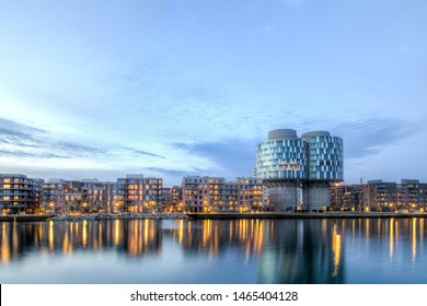 Copenhagen, Denmark - March 12, 2017: Evening view of the Portland Towers, two silos converted into office bildings in the Nordhavn district.