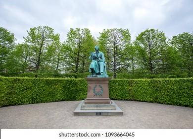 Copenhagen, Denmark - March 12, 2018: Staue of famous Danish writer Hans Christian Andersenin King's Garden
