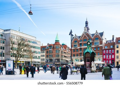 COPENHAGEN, DENMARK - MARCH 15, 2016: The Coal Square is a free space for shopping in Copenhagen. The Square is on of the oldest and is located very close to Rosenborg Castle and the Shopping Street.