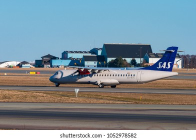 Copenhagen Denmark - March 18. 2018: SAS ATR72 airplane in Copenhagen airport