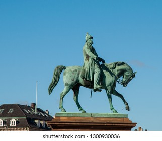Copenhagen Denmark - March 18. 2018: Statue of Frederik VII king of Denmark riding a horse in front of Christiansborg castle