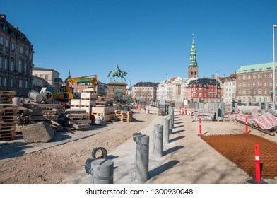Copenhagen Denmark - March 18. 2018: Construction work on the square in front of Christiansborg palace