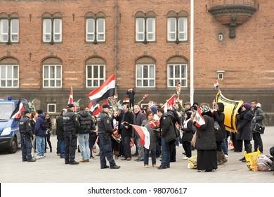 COPENHAGEN, DENMARK - MARCH 18: Demonstration in support of Bashar al-Assad in Syria on City Hall Square on March 18, 2012 in Copenhagen, Denmark