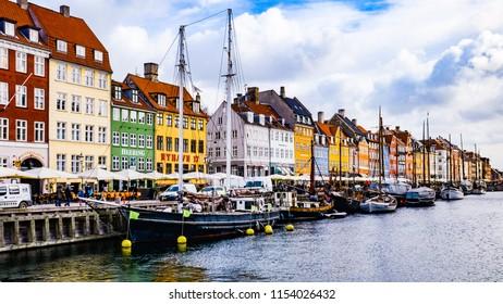 Copenhagen - Denmark - March 2017: Sunset colors in Nyhavn