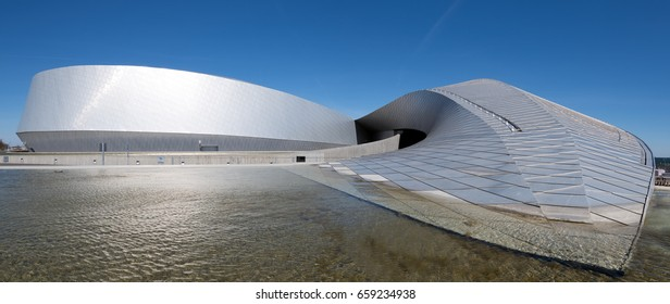Copenhagen, Denmark - May 01, 2017: Modern building of the Blue Planet - the National Aquarium