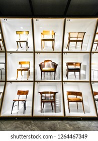 COPENHAGEN, DENMARK - MAY 05, 2018: Danish Museum of Art & Design (Museum of Decorative Art) displaying works of famous Danish designers. Permanent exhibition The Danish Chair