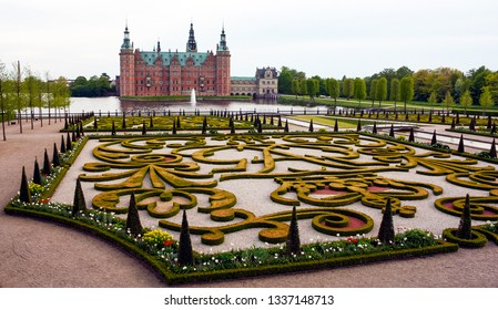 Copenhagen, Denmark - May 06 2007: Incredibly beautiful landscape of the Frederiksborg Castle garden in springtime