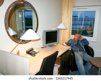 Copenhagen, Denmark - May 06 2007: Man posing in hotel room