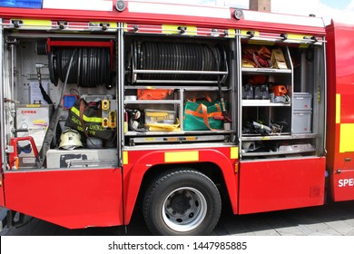Copenhagen, Denmark: May 1 2019 - Modern firefighter truck with an emergency tool and equipment for using in fire situation.