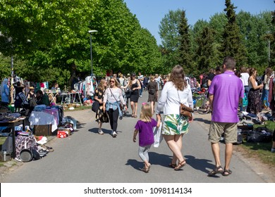 Copenhagen, Denmark - May 13, 2018: People at a flea market in Stefansgade in Norrebro district