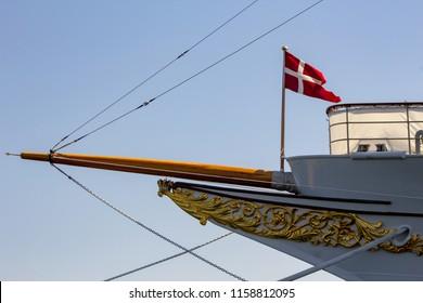 COPENHAGEN, DENMARK - MAY 14 2018: The clipper bow of HDMY Dannebrog, moored in Copenhagen harbor.