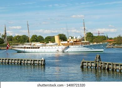 COPENHAGEN, DENMARK - MAY 14, 2019: The Danish royal yacht Dannebrog. Copenhagen, Denmark.