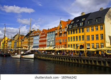 COPENHAGEN, DENMARK - MAY 14: Nyhavn at May 14, 2013, Copenhagen, Denmark. Nyhavn is the harbor of the old city of the Danish capital, a favorite place for tourists.