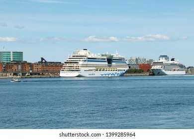 COPENHAGEN, DENMARK - MAY 15, 2019 : AIDAluna is a Sphinx class cruise ship, owned by US based. Copenhagen is the biggest cruise port in the Baltic. Denmark. Baltic Sea.