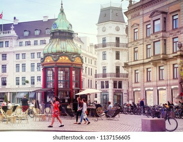 COPENHAGEN, DENMARK - MAY 16, 2018 - old kiosk and first public telephonic connection from 1913 in Baroque Revival style at Kongens Nytorv, now coffee bar,in central Copenhagen.