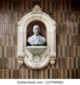 COPENHAGEN, DENMARK - MAY 18, 2018  Ny Carlsberg district: bust of Carl Jacobsen danish industrialist and founder of the Ny Carlsberg brewery encased in a wall niche
