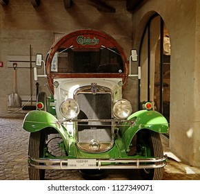 COPENHAGEN, DENMARK - MAY 18, 2018 the Old Carlsberg brewery in Copenhagen: in exposition a vintage Chevrolet barrel shaped, used as distribution vehicle and advertising for Carlsberg beer sales.