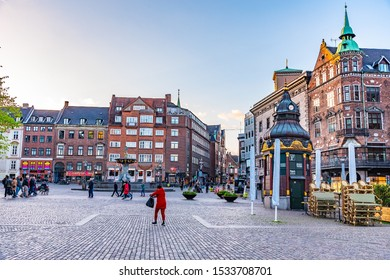 COPENHAGEN, DENMARK, MAY 2, 2019: View of the Nytorv square in the central Copenhagen, Denmark.