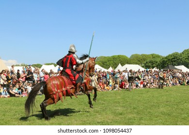 COPENHAGEN, DENMARK - MAY 20, 2018:Tournament of horsemen in medieval costumes in the park Valby, Denmark.