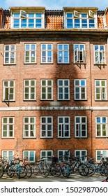 Copenhagen, Denmark - May, 2019: Exterior architecture. Facade of old building in Copenhagen.
