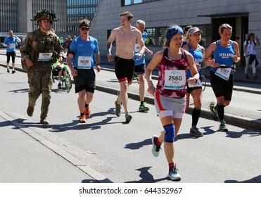 COPENHAGEN, DENMARK - MAY, 21, 2017: The Copenhagen Marathon. Yearly event. 10.000 runners participate in a marathon through Copenhagen.