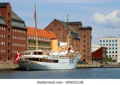 COPENHAGEN, DENMARK - MAY 22, 2018 :The Danish royal yacht Dannebrog. Copenhagen, Denmark.