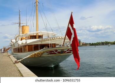 COPENHAGEN, DENMARK - MAY 22, 2018 : The Danish royal yacht Dannebrog moored at the Amalie quay, Copenhagen, Denmark.