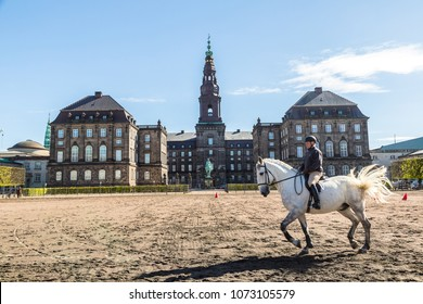 COPENHAGEN, DENMARK - MAY 24: The royal stables at the Christiansborg palace in Copenhagen, Denmark in a sunny day on May 24, 2017