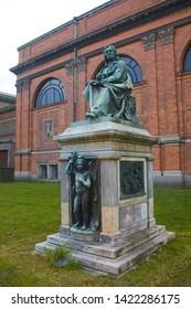 COPENHAGEN, DENMARK - May 25, 2019: Asmus Jacob Carstens Statue near Ny Carlsberg Glyptotek in Copenhagen