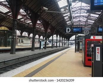 COPENHAGEN, DENMARK - May 27, 2019: Platform in Central Station in Copenhagen