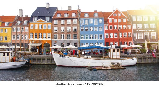 COPENHAGEN, DENMARK - MAY 31, 2017: panoramic banner of the Nyhavn canal. Nyhavn is waterfront, canal and entertainment district in Copenhagen, Denmark