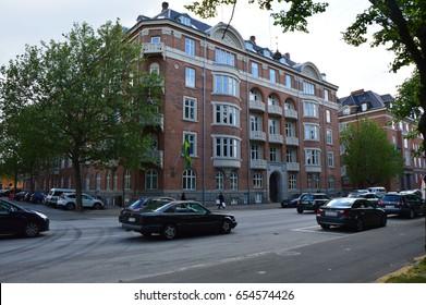 COPENHAGEN, DENMARK, MAY 31, 2017: Embassy of Brazil in Copenhagen in Jens Kofods Gade street view from Grønningen street, Copenaghen, Denmark
