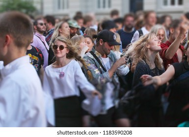 Copenhagen, Denmark - May 31, 2018: Crowd of young people drinking dancing and enjoying themselves at music venue