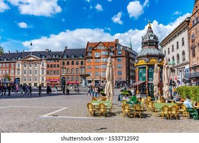 COPENHAGEN, DENMARK, MAY 5, 2019: View of the Nytorv square in the central Copenhagen, Denmark.