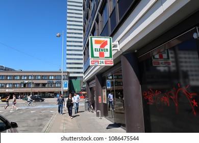copenhagen, denmark - May 8, 2018: The front of a 7-Eleven convenience store in copenhagen.