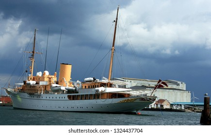 Copenhagen, Denmark - May o7 2007: The Danish Royal Yacht Dannebrog anchored in harbour