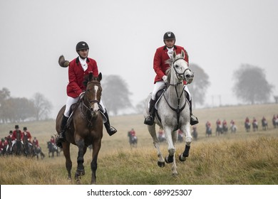 COPENHAGEN, DENMARK - NOVEMBER 2015: The danish version of a fox hunt is called The Hubertus Hunt. It is a yearly competition in November held in the park Dyrehaven.