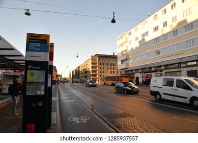 Copenhagen, Denmark – November 24, 2018: Bus Stop, Copenhagen, Denmark, Scandinavia, Europe