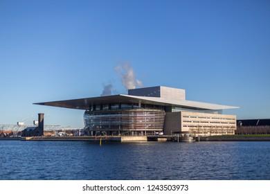 Copenhagen, Denmark - November 27, 2018: Exterior view of the Opera House designed by architect Henning Larsen