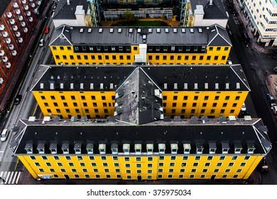 COPENHAGEN, DENMARK - NOVEMBER 7, 2015: Aerial view of Copenhagen City, Denmark, Scandinavia. View from Tower of Church of Our Saviour on November 5, 2015, Copenhagen, Denmark