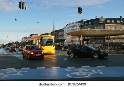 Copenhagen, Denmark - Novomber 26th 2015: city street and traffic.