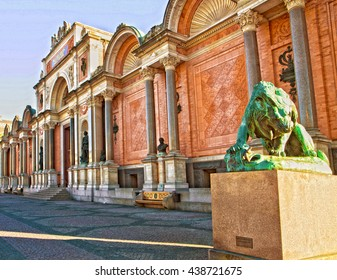 Copenhagen, Denmark, Ny Carlsberg Glyptotek facade and entrance with the bronze statue of lion fighting a snake.  The art museum was inaugurated in 1906.