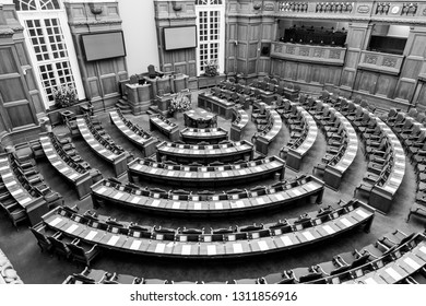 Copenhagen, Denmark - Occtober 05, 2016: Black and white photograph of the interior of the Danish parliament also called Folketinget