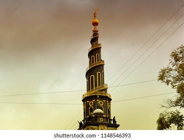 COPENHAGEN, DENMARK, October 08 2015: The Church of Our Saviour with its helix spire in Copenhagen, Denmark.