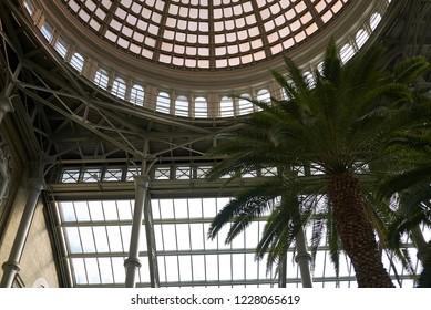 Copenhagen, Denmark - October 09, 2018: View of Ny Carlsberg Glyptotek winter garden dome