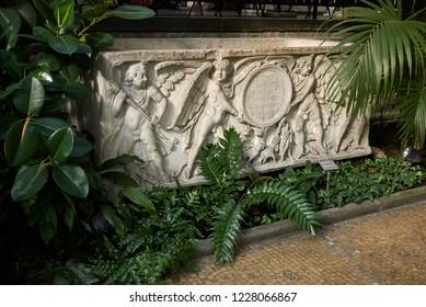 Copenhagen, Denmark - October 09, 2018: View of sarcophagus in Ny Carlsberg Glyptotek winter garden