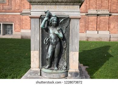 Copenhagen, Denmark - October 09, 2018: View of Ny Carlsberg Glyptotek asmus iacob carstens statue