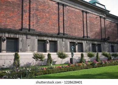 Copenhagen, Denmark - October 09, 2018: View of Ny Carlsberg Glyptotek rear garden